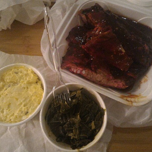 BBQ ribs, potato salad, greens  @ The Dream BBQ