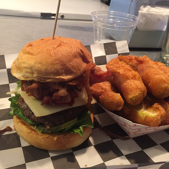 Kitchen Sink Burger And Fried Pickles @ Grass Fed