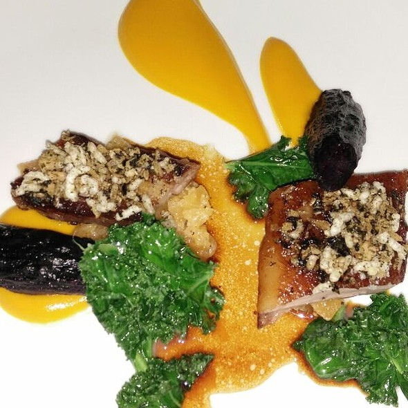 Pork Belly And Kale With Carrot Puree @ anew Table