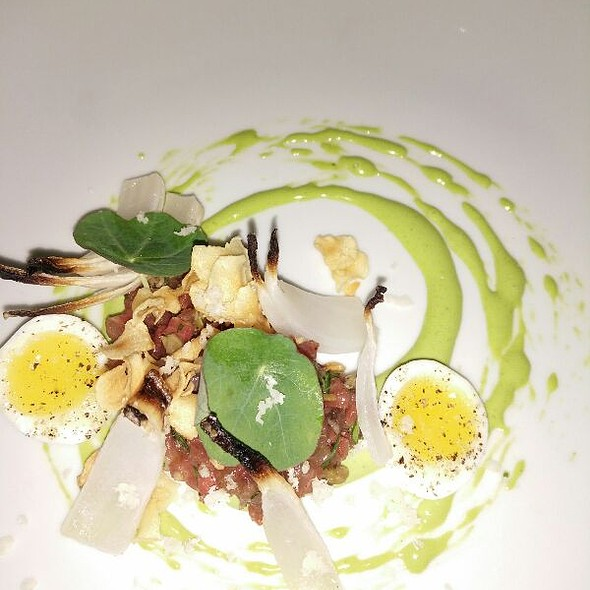 Beef Tartare With Quail Egg and Radish @ anew Table