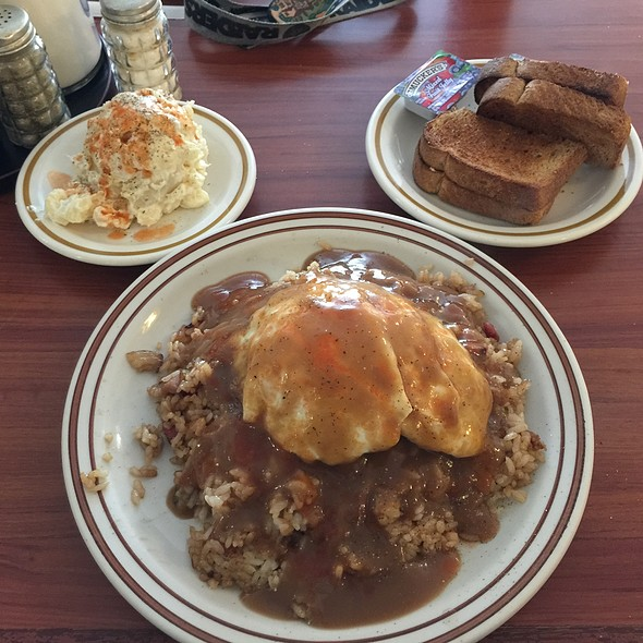 Fried Rice Loco Moco With Extra Tabasco, Wheat Toast And Side Potato/Mac Salad