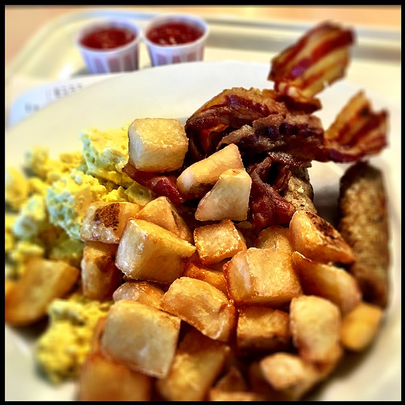 Scrambled Eggs With Homefries, Bacon And Sausage. @ IKEA Vaughan