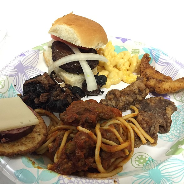 Bear sausage, BBQ raccoon, venison spaghetti, beaver burger, fried dove, and fried venison backstrap @ NC State Leopold Wildlife Club
