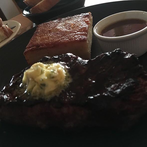 Charred 300G Aged Striploin, Pontiac Gratin,Horseradish Butter, Green Peas, Drysdale Goats Cheese @ Piknik