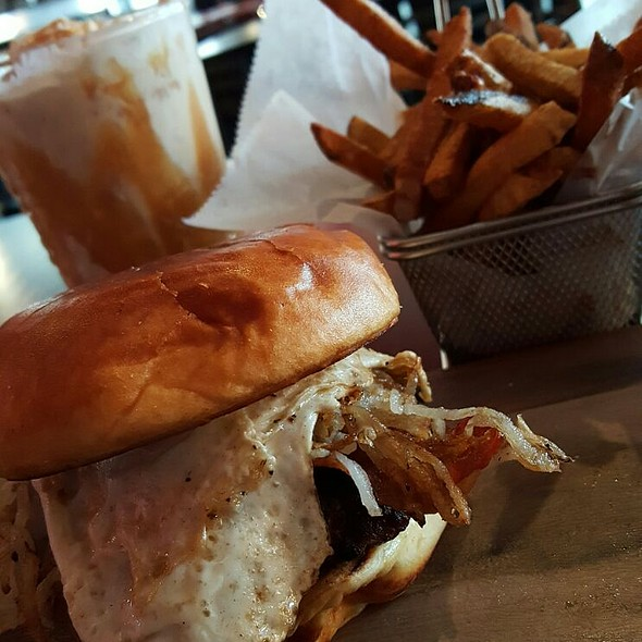 Sunny Side Burger and Fries w/Salted Carmel Shake @ Flamme Burger