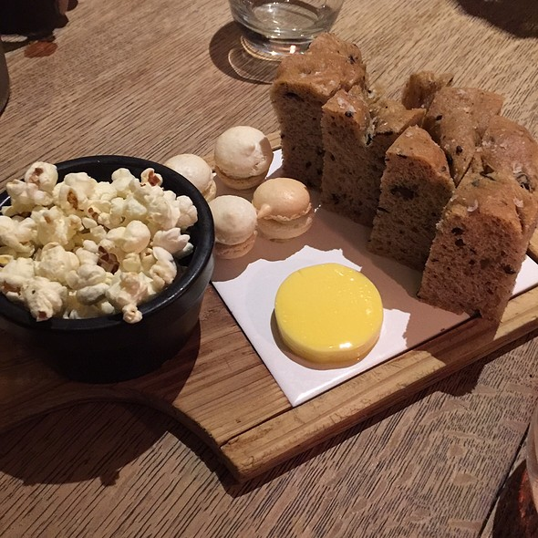 Olive Bread, Blue Cheese Macaron & Truffle Popcorn