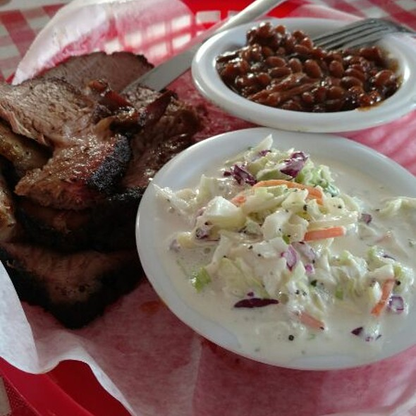 Brisket with Bean and Slaw @ Red State BBQ