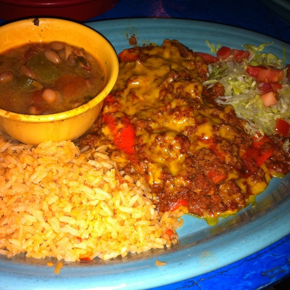 Cheese Enchiladas With Chile Con Carne at Perico's Mexican Restaurant ...