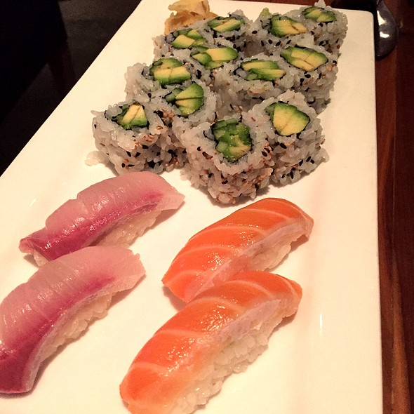 Salmon And Hamachi Sushi, Avocado Roll