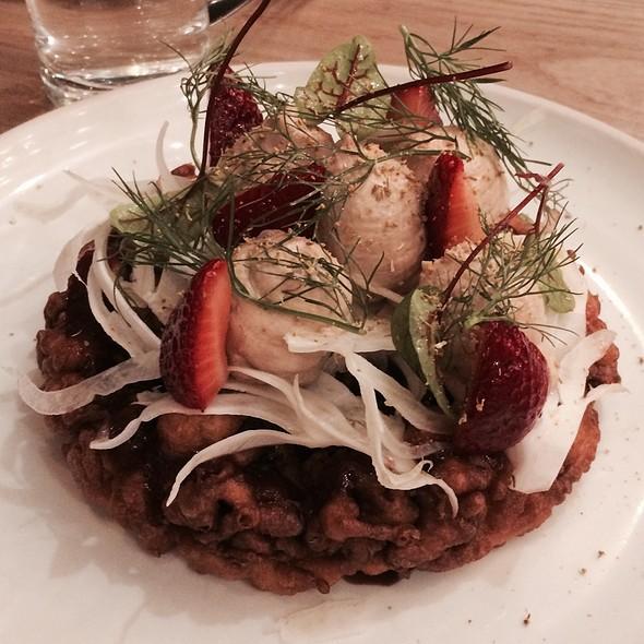 Foie Gras With Funnel Cake, Strawberry, Fennel, Balsamic @ Otium