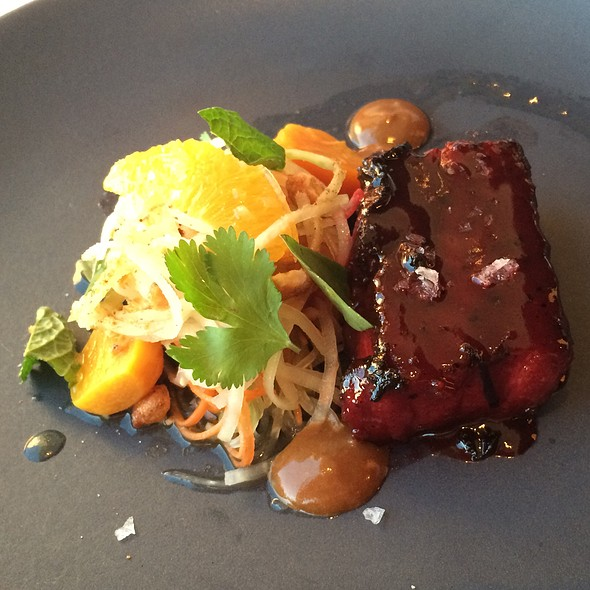 Niman Ranch Pork Belly With Papaya Salad, Beet Char Siu, Citrus And Spiced Peanuts @ George's At the Cove