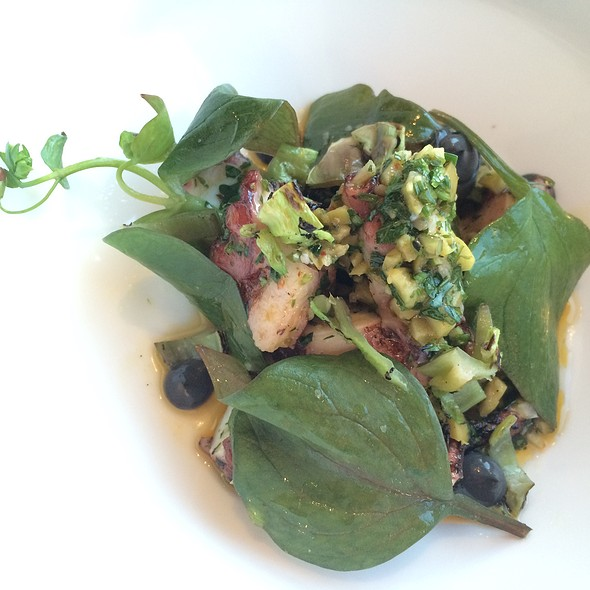 Grilled Octopus, Calabrian Chili, Olive, Potato, Squid Ink Aioli, Puntarella, Miner's Lettuce @ George's At the Cove