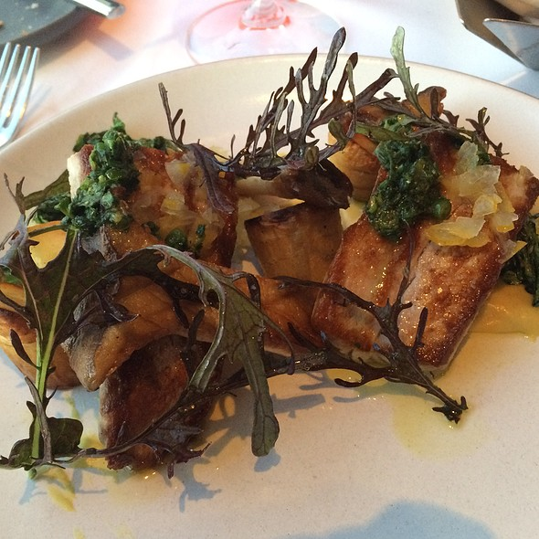 Local Yellowtail, Parsnip, Sorrel Harissa, King Trumpet Mushrooms, Mustards, Buddhas Hand @ George's At the Cove