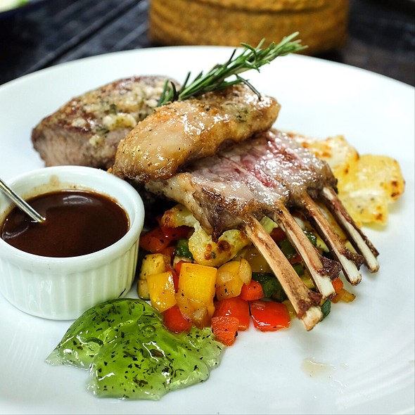 Oven Roasted Lamb Racks with Butter, Garlic Served with Potato Gratin and Ratatouille @ 99 Rest Backyard Cafe