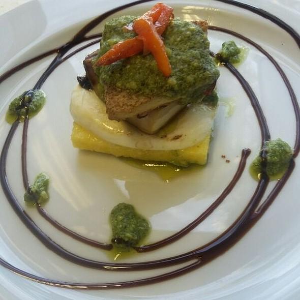 Polenta, Tofu, Portobello And Mozzarella Stack With Almond Basil Pesto @ My New Job