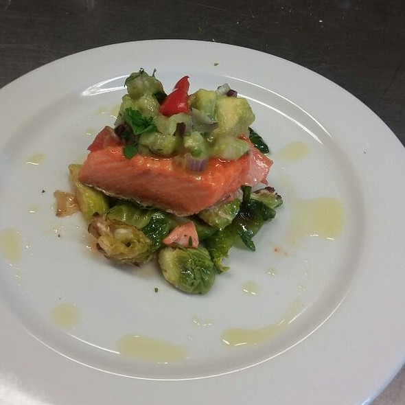 Chili Rubbed Salmon With Cucumber Guacamole  On Agave Roasted Brussels Slrouts @ My New Job