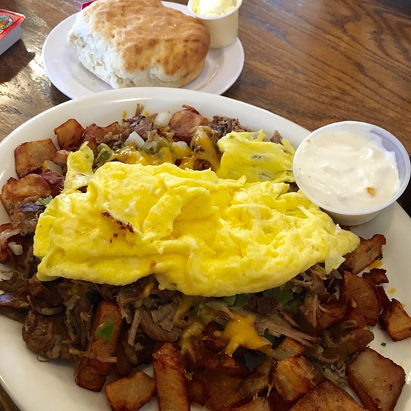 Pulled Pork Hash & Eggs @ Homestead Restaurant