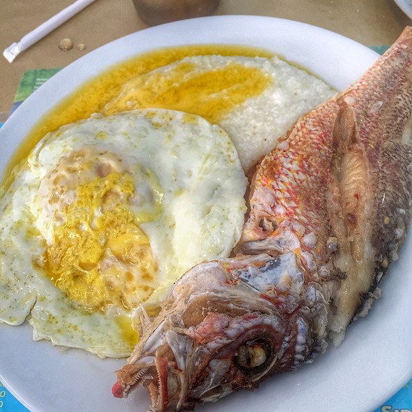 Fried Snapper With Grits @ Bahamian Pot Restaurant