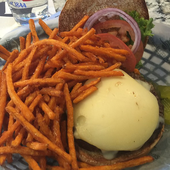 Blue cheese burger and sweet potato fries - Lord Fletcher's, Spring Park, MN