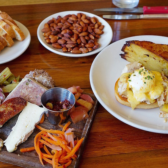 Charcuterie, fried almonds and smoked trout eggs Benedict - Olympia Provisions Southeast, Portland, OR