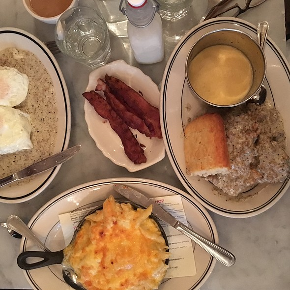 Buttermilk Fried Chicken W Sausage Gravy W Biscuits, Mac N Cheese, Biscuits & Eggs W Sausage Gravy, Cheese Grits, Bacon @ Jacobs Pickles