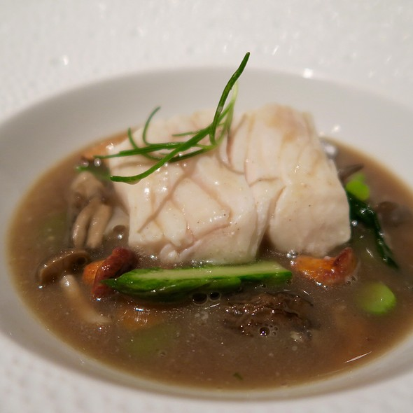 Poached Halibut With Manila Clams, Asparagus, And Wild Mushroom Casserole - Le Bernardin, New York, NY