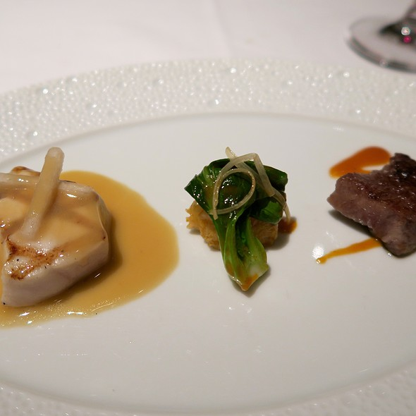 Grilled Escolar And Seared Wagyu Beef With Fresh Kimchi, Asian Pear, And Soy-Citrus Emulsion - Le Bernardin, New York, NY