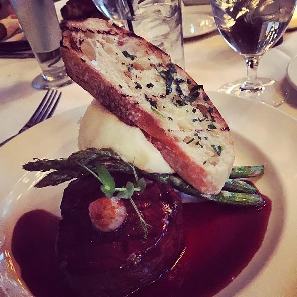 Grilled Beef Tenderloin, Bordelaise Sauce, Asparagus & Horseradish Whipped Potato. @ Mistral Restaurant