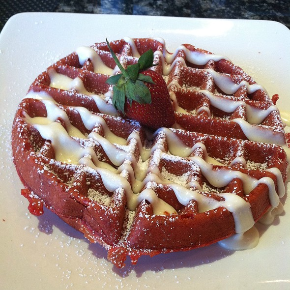 Red Velvet Waffle With Cream Cheese Drizzle - Stewart Penick's Terrace - Ballantyne, NC, Charlotte, NC