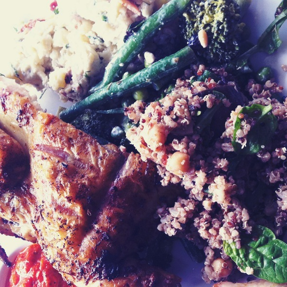 Portugese Chicken With Salads; Quinoa, Potato & Broccoli @ Madam Char Char Australia