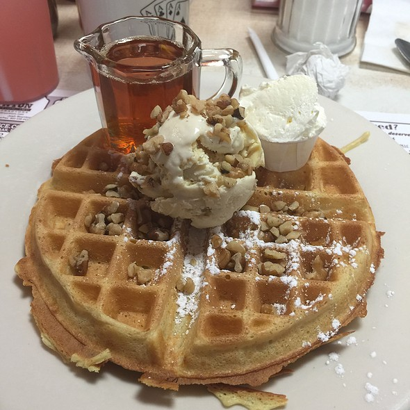 Belgian Waffle With Butter Pecan Ice Cream @ The Four Aces