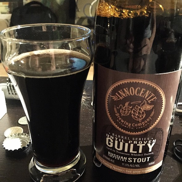 Innocente Until Proven Guilty Russian Imperial Stout Barrel Aged In Tennessee Whiskey Barrels