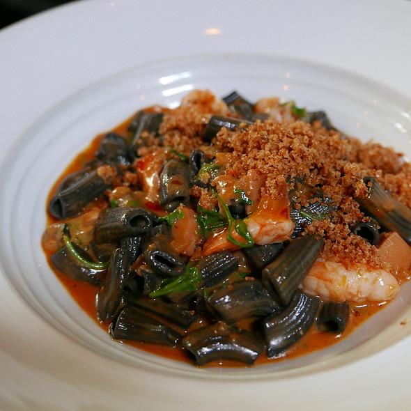 squid ink mezze maniche, seppia, gulf shrimp, san marzano tomato and wild arugul @ SPQR