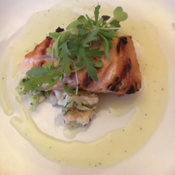 Herb-Crusted Salmon Over Roasted Cauliflower Risotto With Lobster Creme Sauce - Elements Café, Haddon Heights, NJ