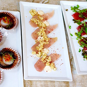 Crudo – scallops, yellowtail, ahi tuna