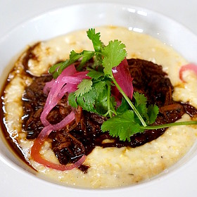 Hickory king grits, smoked pork Korean stew - Underbelly, Houston, TX