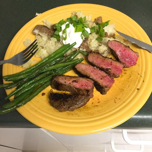 Steak, Green Beans, Baked Potato @ Home
