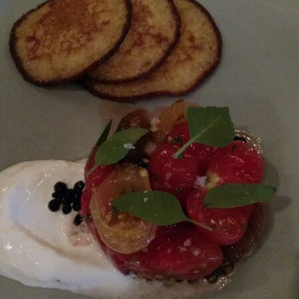 Heirloom Tomato With Johnny cakes @ Coquette