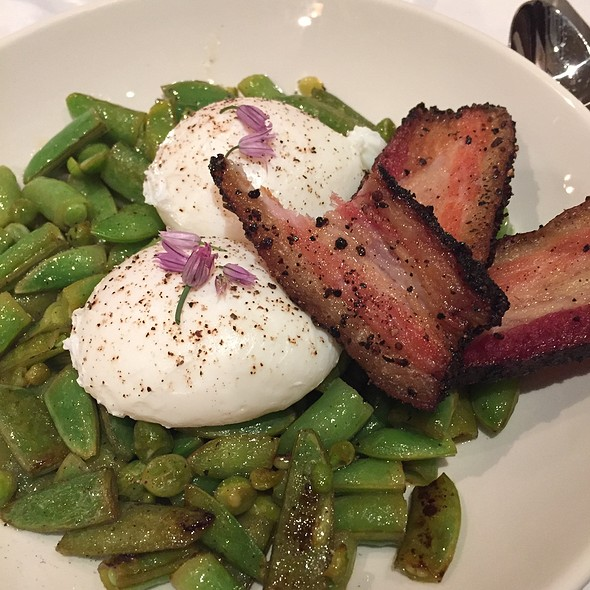 English Pea And Poached Eggs, Peppered  Pancetta Bacon @ Miailino