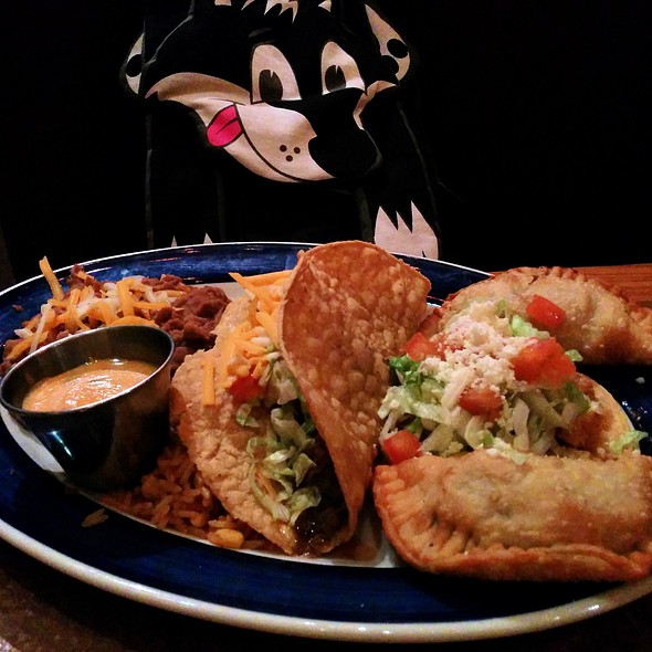 Beef empanadas, ground beef taco, chicken tinga tostada, pinto beans and rice @ On the Border Mexican Grill