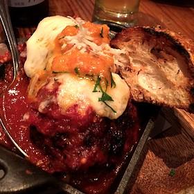 Caciocavallo Stuffed Meatballs, house ground short rib and pork meatballs, Sicilian oregano, Calabrian chile & pickled pepper