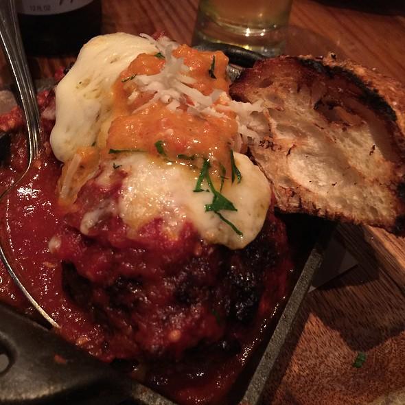 Caciocavallo Stuffed Meatballs, house ground short rib and pork meatballs, Sicilian oregano, Calabrian chile & pickled pepper @ Barbuzzo