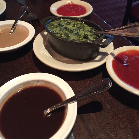 Creamed Spinach & Various Steak Sauces @ Club A Steakhouse