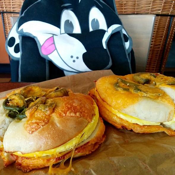 Bacon, egg & cheese on jalapeño cheddar bagel @ Einstein Bros Bagels
