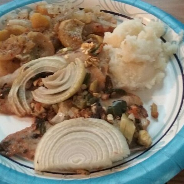 Mashed Potatoes Yellow Squash with Onions and Oven Roasted Whiting  @ My Mom's Spot(homecooked)