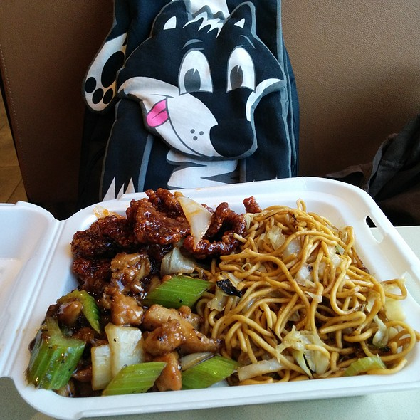 Beijing Beef and Black Pepper Chicken with noodles @ Panda Express