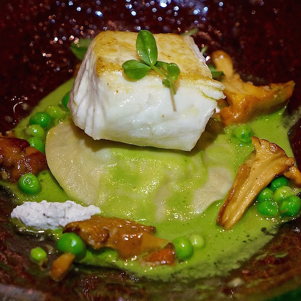 Halibut, crab and artichoke ravioli, chanterelles, peas, smoked ricotta - Allium, Chicago, IL