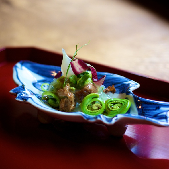 Salad of Cucumber, Rikyu-Fu and Fiddlehead Fern - Kajitsu, New York, NY