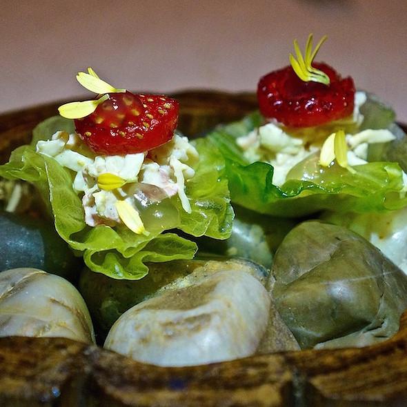 King crab salad, meyer lemon, strawberries
