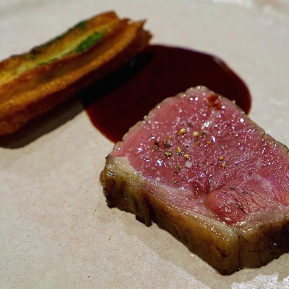 Striploin, potato churro, cherry steak sauce @ Momofuku Ko